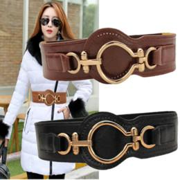 Wholesale Ladies Wide Leather Belts - New Arrival Lady Cummerbunds Decoration Genuine Leather Belt Women Fashion Brief Elastic Girdle All Match Wide Waistband B-2822