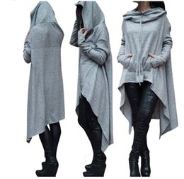 Wholesale Women S Scarves - 2017 new autumn winter pockets hoodies scarf collar long sleeve fashion solid color asymmetrical women sweatershirts S-4XL size