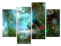 Wholesale peacock painting framed - YIJIAHE Landscape Print Canvas Painting Art Peacock 4 Piece Canvas Art Wall Pictures For Living Room Large Wall Art DW119