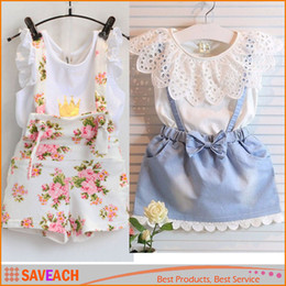2016 Summer Kids Suit Costumes Robe Girl Dentelle Blanc T-shirts Bébé Denim Jupe Kid Robe Costumes enfant Floral impression suspendre pantalon à partir de fabricateur