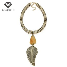 Wholesale Vintage Style Necklaces Wedding - Indian Style Big Acrylic Vintage Leaf Pendant Necklace Statement Jewelry Sheet metal Chain Maxi Choker Collier Femme CE4137