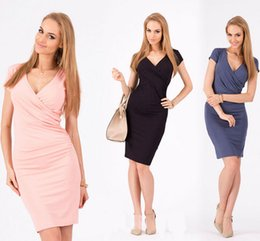 Wholesale Celebs Dresses Red - Free shipping 2016 New Fashion Women Celeb Party Wear To Work Evening Tunic Sheath Bodycon Pencil Dress