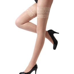 Wholesale White Stay Ups - Women\'s Sexy Lace Top Silicone Band Stay Up Thigh High Stockings Pantyhose