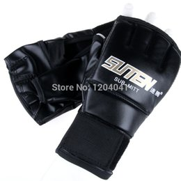 Wholesale High Gear Training - High Quality 1 Pair Professional Men PU Leather Half Mitts Mitten Women MMA Muay Thai Training Punching Sparring Boxing Gloves