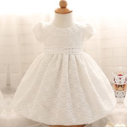 Wholesale Linen Lace Wedding Dresses - Wholesale- New White Lace Tulle Baby Girl Dress Princess Christening Gown Crystal Infant Party Wedding Formal Dress For Baby Kids Clothing