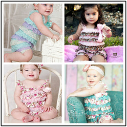 Wholesale Wholesale Aqua Tutus - 20colors Girl Petti Ruffle romper NO headband Baby Lace Romper Birthday gift Outfit Aqua purple yellow baby girls jumpsuits lovely cloth