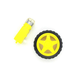 Wholesale Voltage Regulator Car - Free shiping !!! 4set lot Deceleration DC motor + supporting wheels , a   smart car chassis, motor   robot car wheels