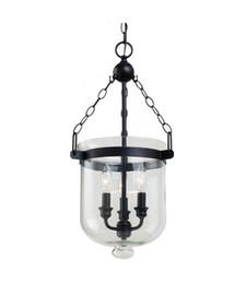 Wholesale Mediterranean Art - American Country RH Loft Iron Pendant Lamp Glass Bucket Mediterranean Design Bar Cafe Vintage Light Pendant E14 Lighting Fixture