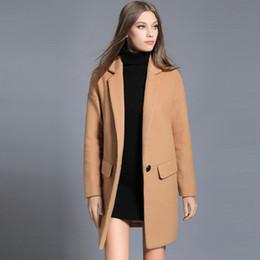 Wholesale Camel Coat For Women - 2017 Winter Women's Women's Woolen Outerwear Black Camel Long Wool Blend Coat For Lady Elegant Casual Oversized Woman Clothing