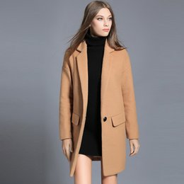 Wholesale Elegant Winter Clothing For Women - 2017 Winter Women's Women's Woolen Outerwear Black Camel Long Wool Blend Coat For Lady Elegant Casual Oversized Woman Clothing