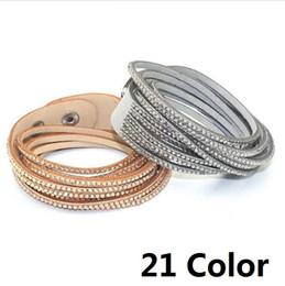 Wholesale Couple Bracelet Gift Set - Fashion 6 Layer Wrap Bracelets Slake Leather Bracelets With Crystals Couple Jewelry womans bracelet 21Color optional b077