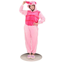 Wholesale Male Onesies - Anime Pink Piglet Pajamas Sleepsuit Sleepwear Pyjamas Unisex Onesie Adult Pink Pig Costumes Cartoon Cosplay Piglet Onesies jumpsuit Coat