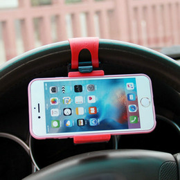 Wholesale Steering Wheel Cover Orange - Universal Car Steering Wheel Holder For iPhone 4 5 6 6S Plus Case For Samsung S6 edge S5 Socket Cover Car Phone Holder For Meizu