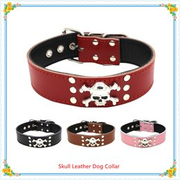 Wholesale Cow Skulls Wholesale - Hot sale Dog accessories Skull and Crossbones Real Cow Leather Dog Collars 4 colors 3 sizes Free shipping