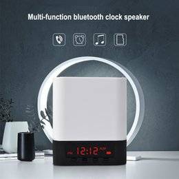 Wholesale Mini Speakers Usb Input - Portable Wireless Bluetooth Stereo Speaker Support AUX Audio Input+Handsfree Call+LED Shinning+Time Alarm Clock Speaker For iPhone 8 7 Plus