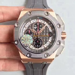 Wholesale Automatic Chronograph Movement - Royal Best Quality JF factory 26568OM Chronograph Watch 44mm Automatic Movement Schumacher Gentry Watch Sec@12 Rubber Strap Waterproof