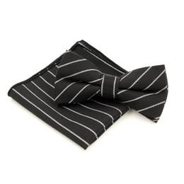 Wholesale Cravat Handkerchief Set - Wholesale-Free shipping Black Striped Gentleman's Adjustable Leisure Bowtie Hanky Set Cravat Handkerchief Butterfly Pocket Square