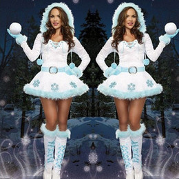 Wholesale Santa Claus Suits For Women - Santa Claus Cosplay 2017 Christmas new snowman series sexy white snowman suit for Christmas