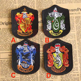 Wholesale Harry Potter Party - Harry Potter Embroidery School Badges Four College Cryffindor Cartoon Movie TV Costume Party Baseball Cap Patches Sewing 10*7.2cm WX-H05
