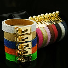 Wholesale White Leather Love Bracelet - Fashion pu leather Love bracelet bangle Women brand H bracelet gold plated stainless steel bracelet Pulseira Feminina gift