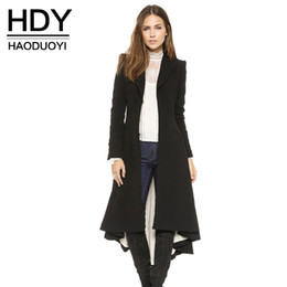 Wholesale Outwear Tail - HDY Haoduoyi Dove tail Victoria office lady long coats Pleated slim fashions women trench outwears for Women Outwear