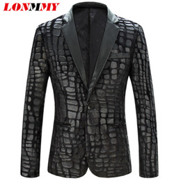 Wholesale Mens Wedding Suit Long - Wholesale- LONMMY M-4XL Men blazers and jackets Crocodile pattern Fashion Slim fit Mens blazer jacket suit men wedding dress 2017 New