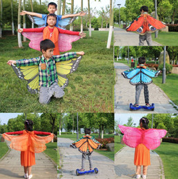 Wholesale Cartoon Shawl - 2017 new children 118*48cm Butterfly Printed Chiffon Beach Towel cartoon Butterfly Design Beach Shawl Poncho 20 style