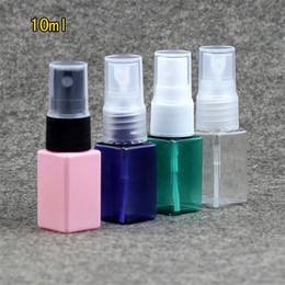 Botellas de spray de plástico azul al por mayor online-Al por mayor-10ml botella de spray cuadrado de plástico mujeres recargables pulverizador de perfume maquillaje Atomizadores de agua cosméticos rosa verde azul