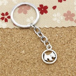 Wholesale Dog Ring Fashion - 15pcs Fashion Diameter 30mm Metal Key Ring Key Chain Jewelry Antique Silver Plated circle scotty dog 15mm Pendant