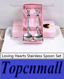 Wholesale Bridal Shower Giveaway Gifts - Wedding thank you gifts for guest Loving Hearts Stainless Spoon Set Bridal Shower Favors Souvenirs party giveaways 120sets wholesale