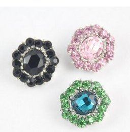 Wholesale Rhinestone Rosette Buttons - 20pc DIY handmade 20MM NOOSA chunks snap jewelry Rosette shaped flower rhinestone blue green black snap button charm fit necklace bracelet