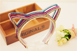 Wholesale Cute Korean Fashion Jewelry Wholesale - Fashion Cat Ears Hair Bands Jewelry baby Girls Korean cute Headbands Cheapest Hair Bands Headwear lady hair accessory party supplies