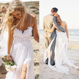 Wholesale Cheap Spaghetti Strap Tops - High quality Top Spaghetti Strap Beach Boho Cheap Bohemian Lace Front Short Long Back Wedding Dress Gown 2016 Bride Dress