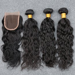 2019 влажное курчавое закрытие 4шт/много Малайзии волна воды 3 связки с закрытием волосы мокрые и волнистые человеческих волос скидка влажное курчавое закрытие