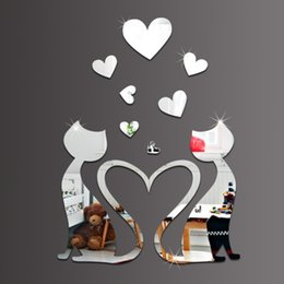 Wholesale Modern Kids Bedroom Set - 3D mirror wall stickers kids Creative Home Decor DIY silver Couple cats Removable Decoration Stickers 2017 4pcs set wholesale Free delivery
