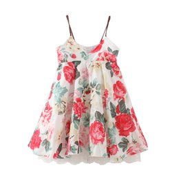 Wholesale Girls Denim Shorts Floral - New Baby Girl Floral Dress Lace dress Fashion Sling Dress Summer Beach Clothing 5 p l