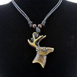 Wholesale Bone Choker Necklace - Wholesale LOT 12pcs Yak Bone Carved Christmas Deer Pendant Reindeer Head Necklace Choker Lucky gift MN526