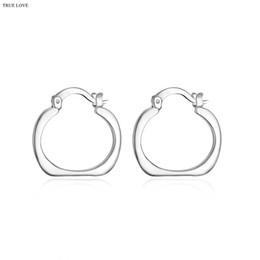 Wholesale 925 Square Hoop Earrings - 925 silver hoop earrings square fashion jewelry for women diameter 2.0cm personality cool party style Europe Hot free shipping