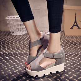 Wholesale Suede Heels Summer - SUMMER STYLE 2016 Platform Sandals Shoes Women High Heel Casual Shoes Open Toe Platform Gladiator Trifle Sandals Women Shoes