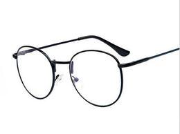Wholesale Wholesale Mens Female - Round Gold Metal Glasses Frame With Clear Lens Fashion Women Mens Myopia Optical Frames Eyeglasses oculos de grau 1695