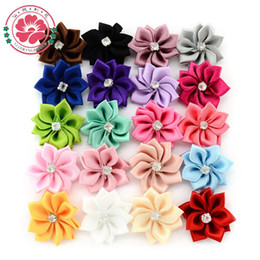Wholesale Pcs Garment Accessories - Wholesale- 50 pcs lot Satin Flower WITHOUT Clip Fabric Flower With Rhinestone For Baby Girls Headbands Appliques Garment Accessories 587.