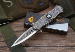 Wholesale Family Fold - 360 degrees spinning the top Colour titanium gyro folding knife edge knife edge outdoor family collection camping survival bag tool EDC Xma