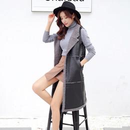 Wholesale Faux Fur Vests For Women - 2016 Winter Warm Flocking Long Vests For Women Fashion Large lapel Sleeveless Plus velvet thicker pu leather Outerwear Coats Waistcoat