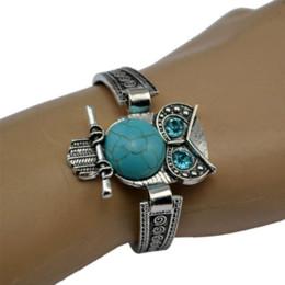Wholesale Turquoise Elephant Bead - 2016 Women Bohemian Retro Vintage Tibet Silver Bracelet Owl Fatima Elephant Moon Turquoise Charm Bracelets Bangles Boho Jewelry