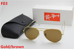 Wholesale Gold Lens Sunglasses - New high quality AAAAA fashion brand designer, male lady ray Yang sunglasses gold frame brown glass lens 58mmUV400 protection black case