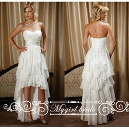 Wholesale Chiffon Short Front Long Back - 2016 Sweetheart Short Front Long Back Wedding Dresses Chiffon High Low Country Western Wedding gowns Custom Made