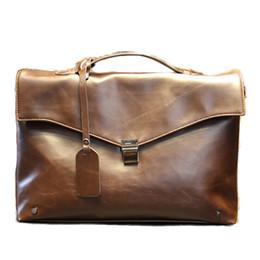Wholesale Shoulder Bag Briefcase Men - Wholesale-2016 Briefcase crazy horse Men Leather Bags Male Shoulder brief case Business Bags portfolio Men Briefcases Leather Laptop bag