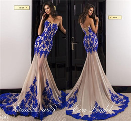 Wholesale see through bodice prom dresses - 2017 Royal Blue Champagne Mermaid Prom Dresses Lace Applique Bodice Evening Dresses Sweetheart Long See Through Formal Evening Gowns