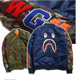 Wholesale Japanese Tooth - Autumn and winter men's tide brand influx of Japanese seiko camouflage splicing shark tooth embroidery cotton padded jacket
