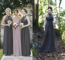 Wholesale halter top dresses plus size - Beach 2016 Cheap Long Bridesmaid Dresses Halter Top Lace Illusion Gray Chiffon Empire Maid of Honor Plus Size Bridal Wedding Party Gowns